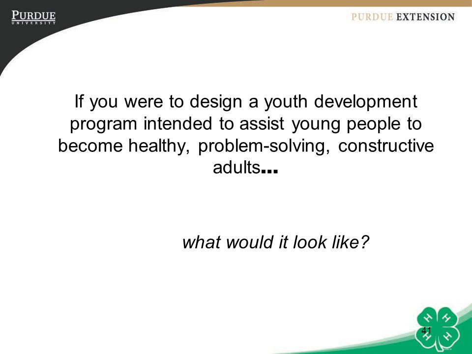 If you were to design a youth development program intended to assist young people to become healthy, problem-solving, constructive adults…