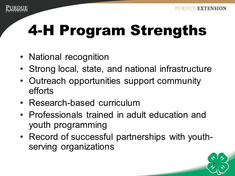 4-H Program Strengths National recognition