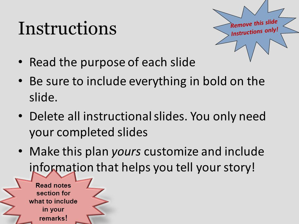 Read notes section for what to include in your remarks!