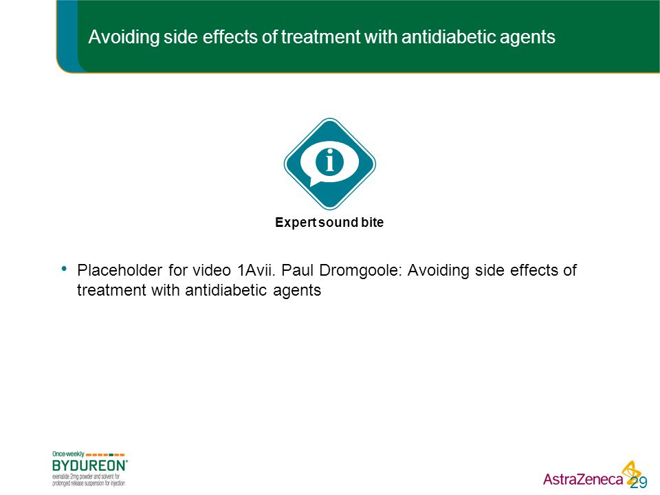Avoiding side effects of treatment with antidiabetic agents