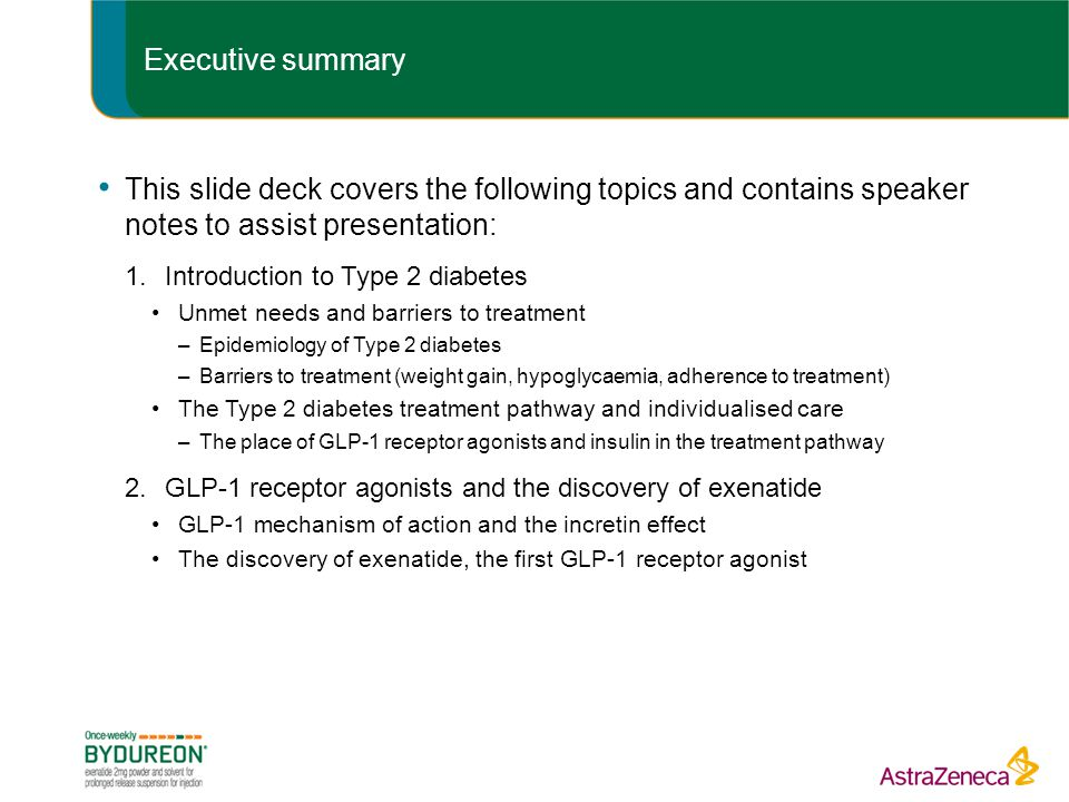 Executive summary This slide deck covers the following topics and contains speaker notes to assist presentation: