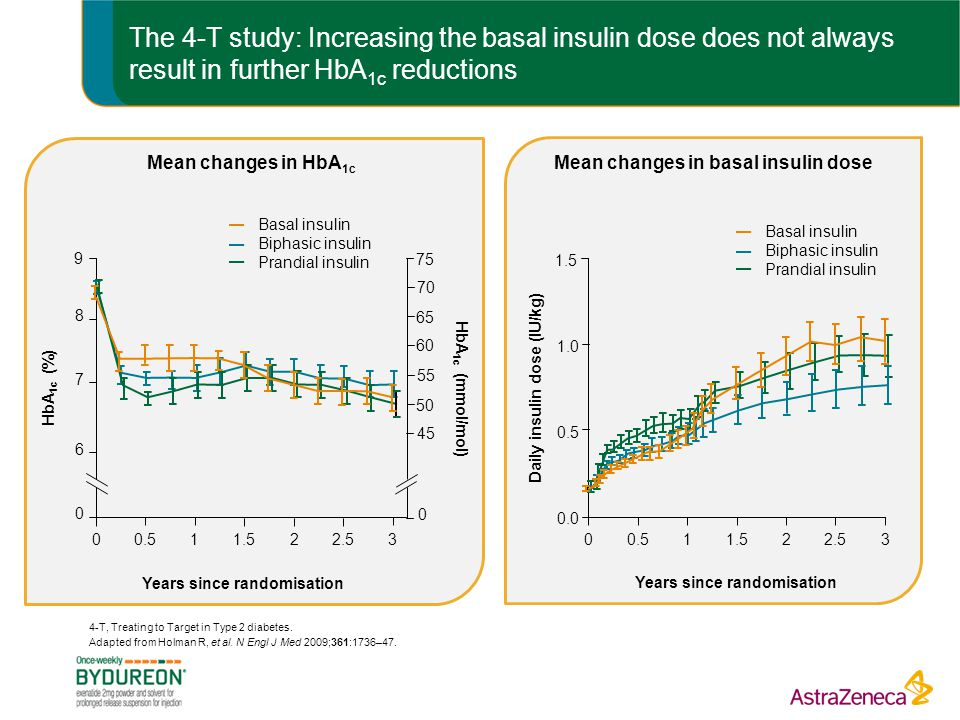 The 4-T study: Increasing the basal insulin dose does not always result in further HbA1c reductions