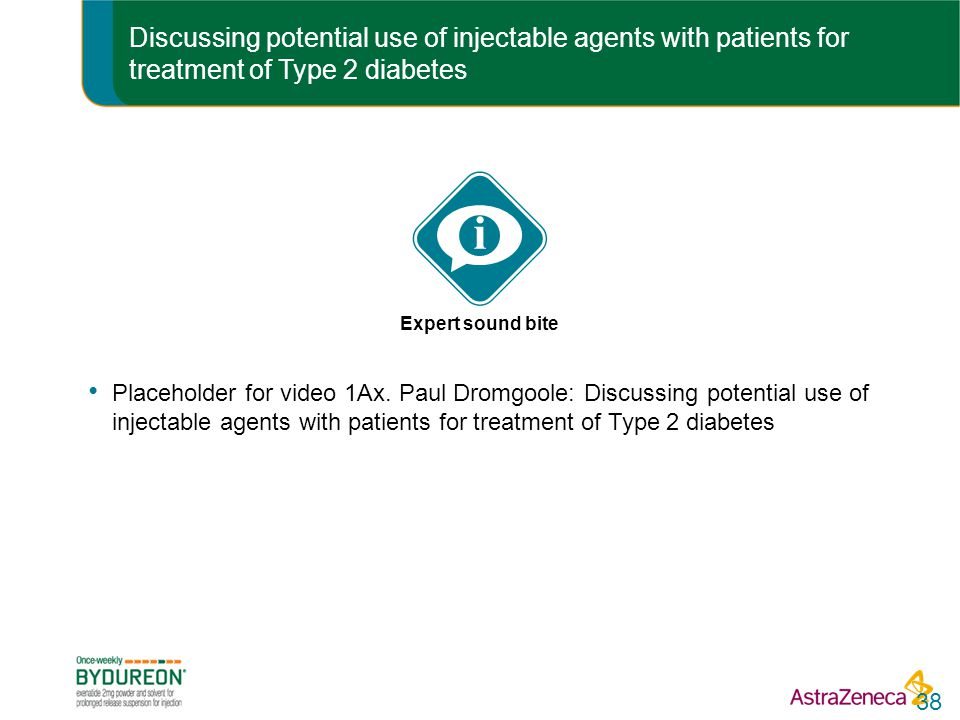 Discussing potential use of injectable agents with patients for treatment of Type 2 diabetes