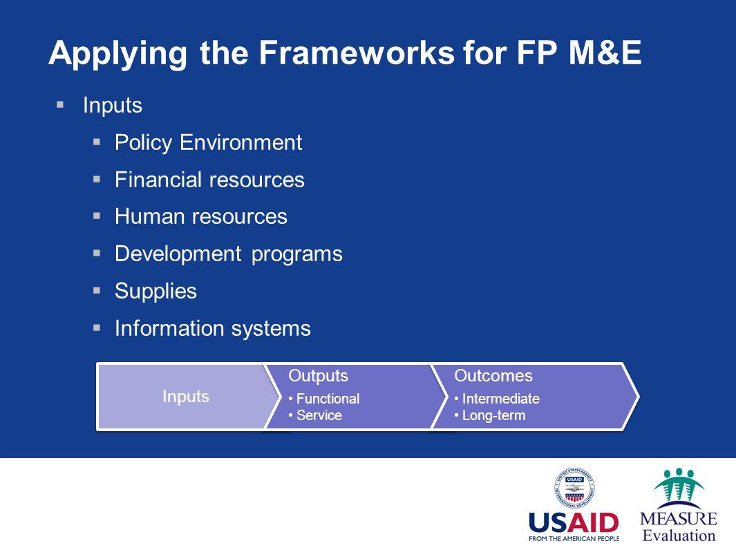 Applying the Frameworks for FP M&E