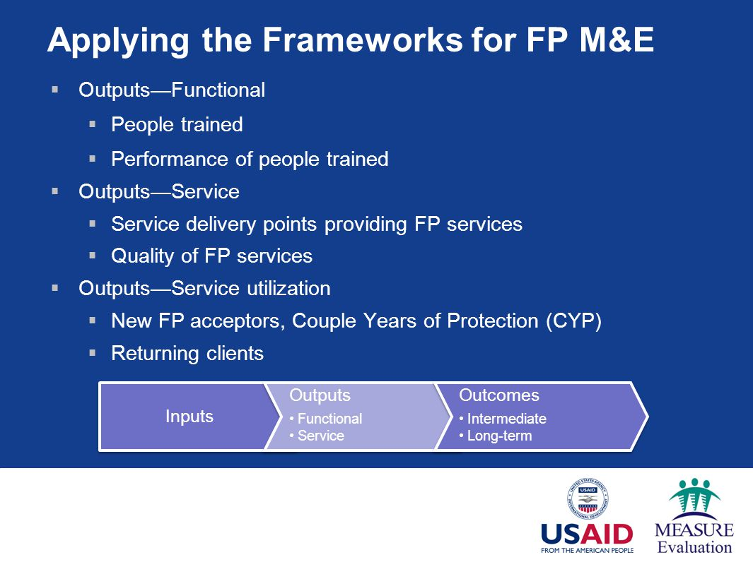 Applying the Frameworks for FP M&E