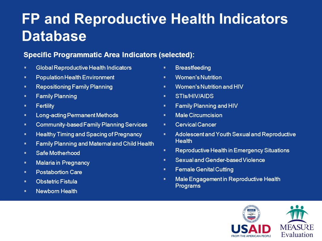 FP and Reproductive Health Indicators Database
