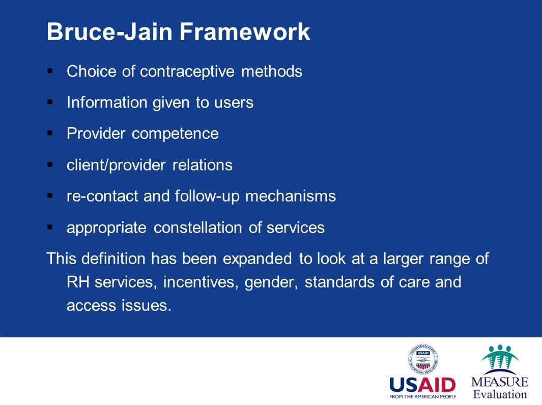 Bruce-Jain Framework Choice of contraceptive methods