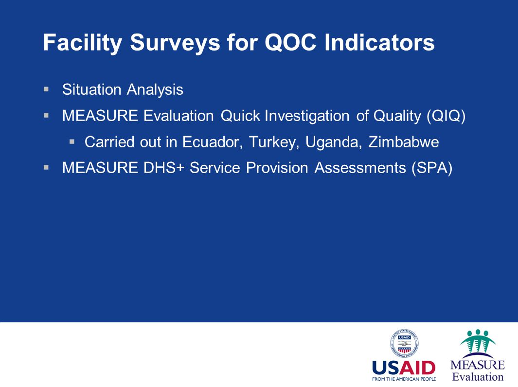 Facility Surveys for QOC Indicators