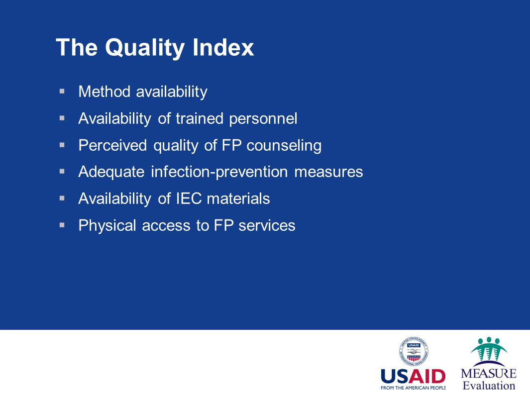 The Quality Index Method availability