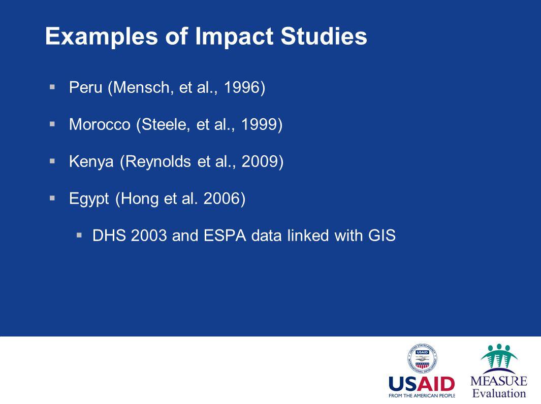 Examples of Impact Studies