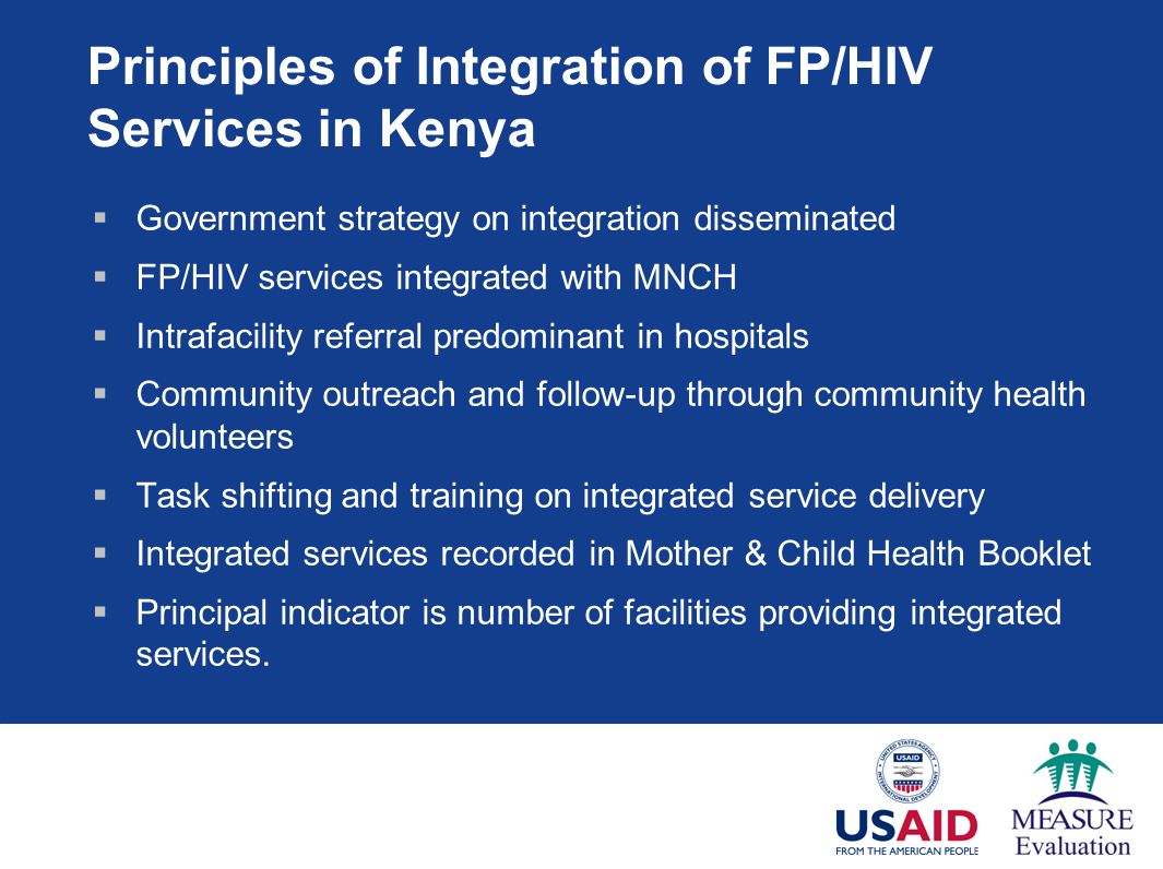 Principles of Integration of FP/HIV Services in Kenya