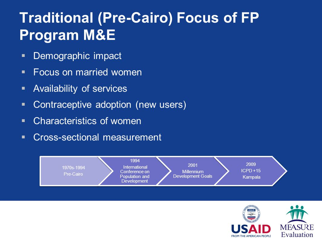Traditional (Pre-Cairo) Focus of FP Program M&E