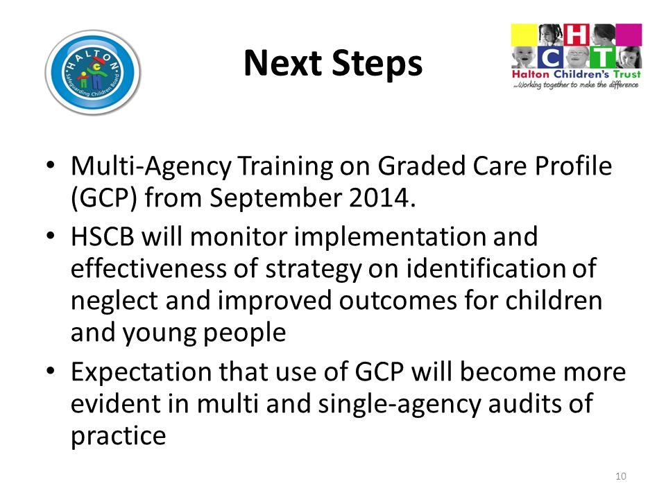 Next Steps Multi-Agency Training on Graded Care Profile (GCP) from September 2014.