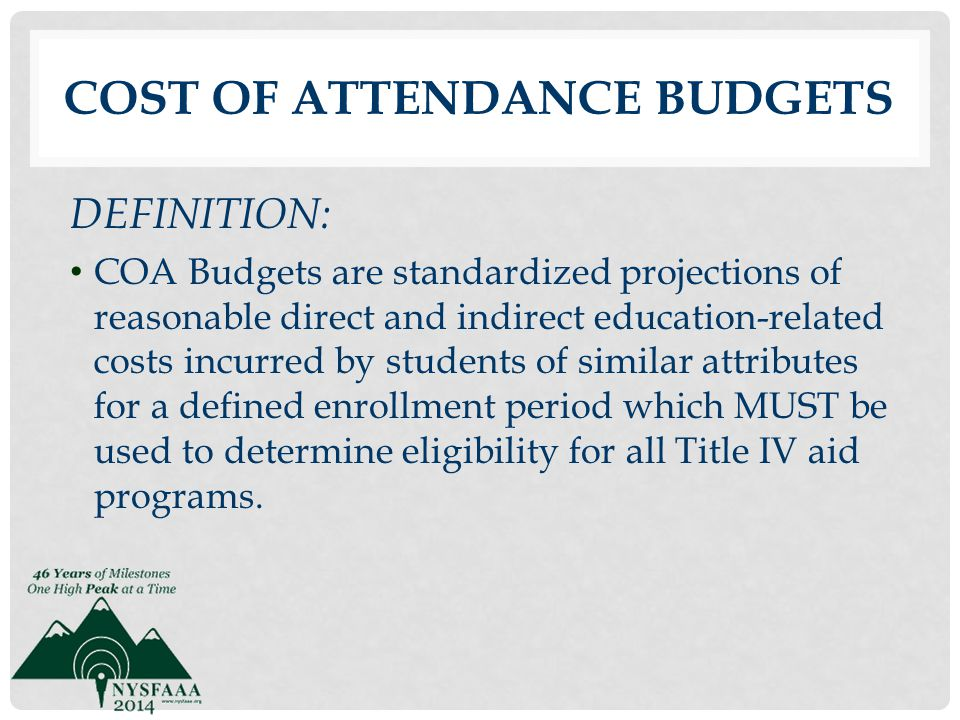 Cost of Attendance Budgets