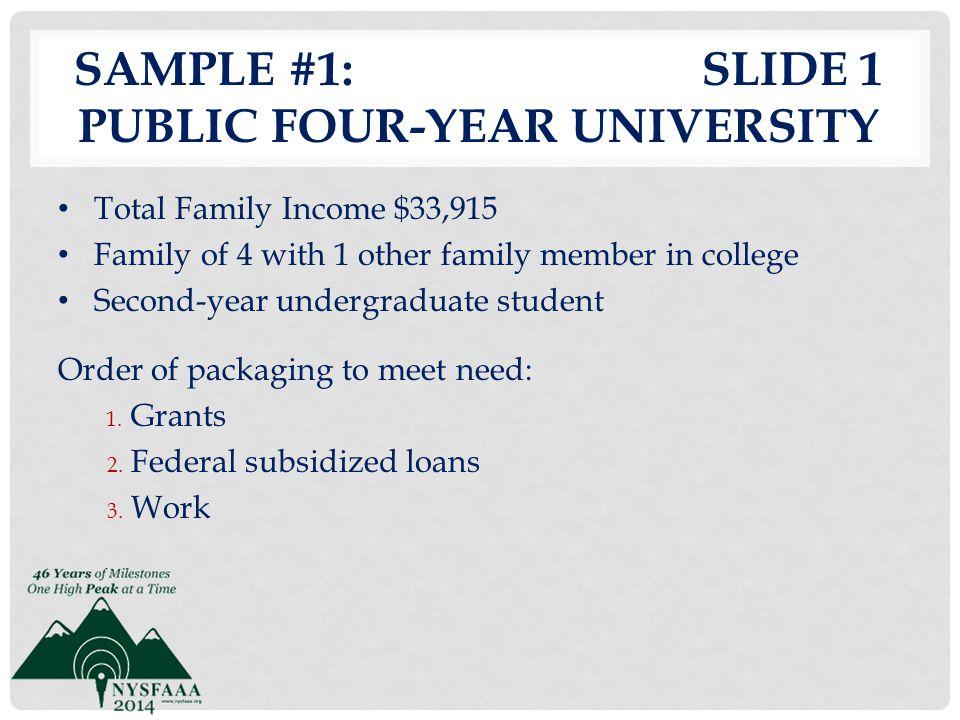 Sample #1: slide 1 Public Four-Year University