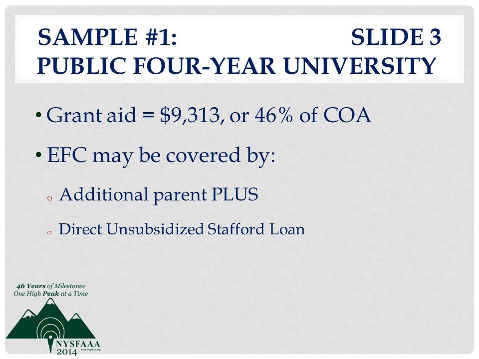 Sample #1: slide 3 Public Four-Year University