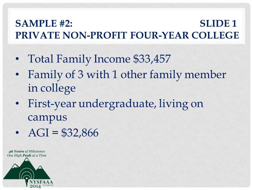 Sample #2: slide 1 Private Non-profit Four-Year College