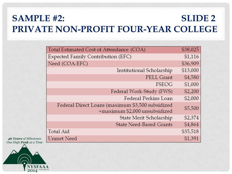 Sample #2: slide 2 Private Non-profit Four-Year College