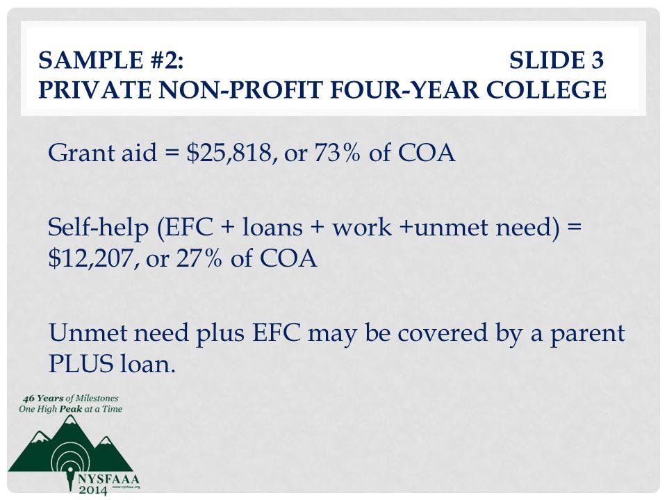 Sample #2: slide 3 Private Non-profit Four-Year College