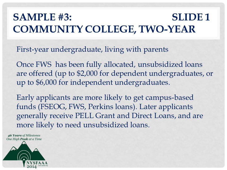 Sample #3: slide 1 Community College, Two-Year