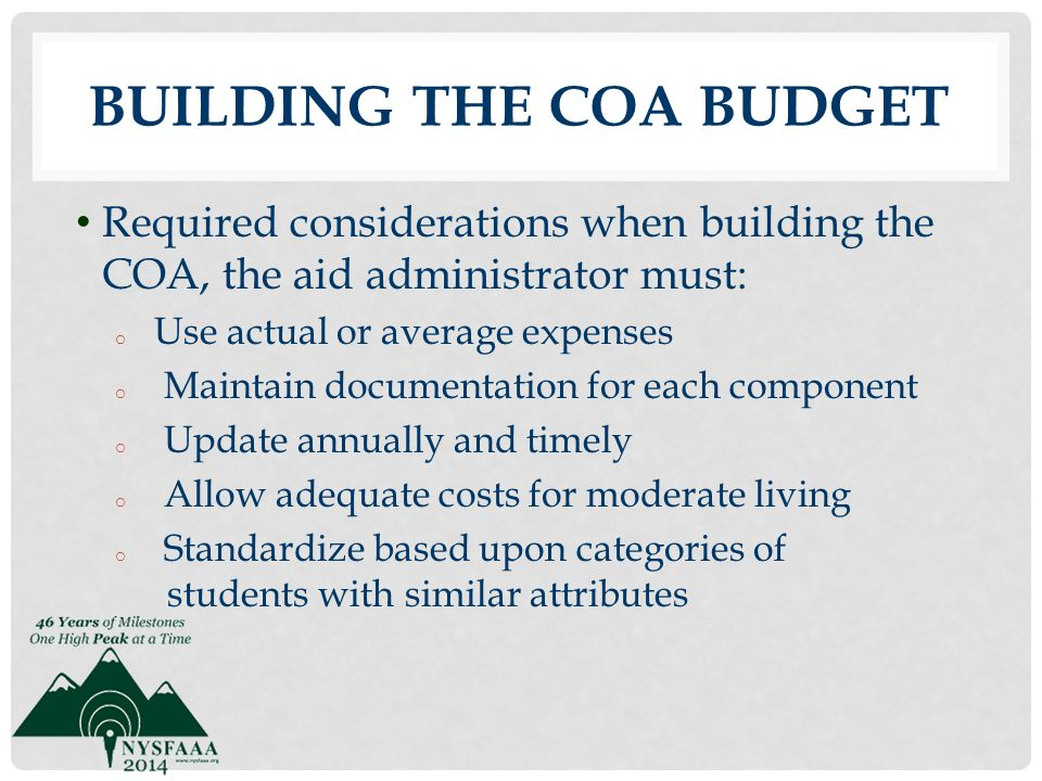 Building the COA Budget