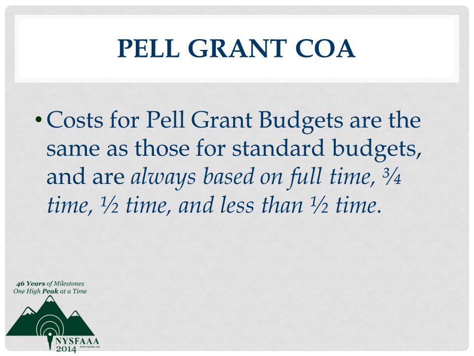 Pell Grant COA