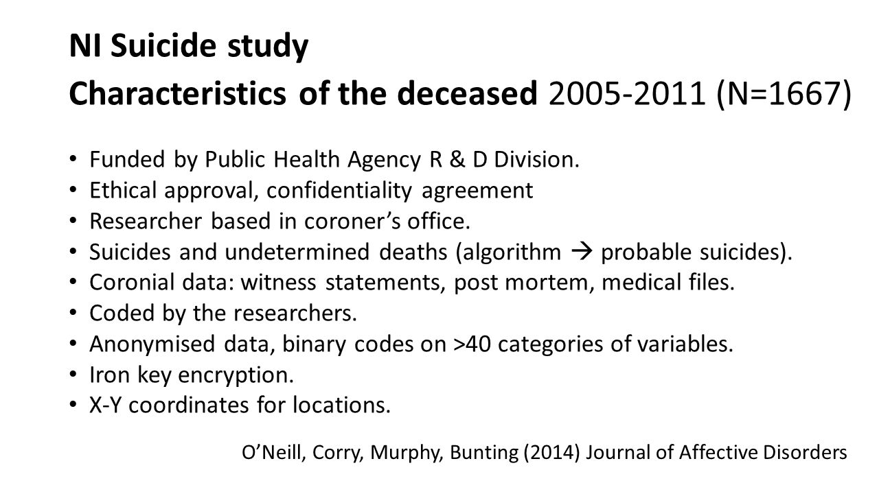 NI Suicide study Characteristics of the deceased 2005-2011 (N=1667)