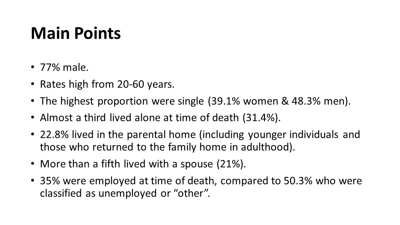 Main Points 77% male. Rates high from 20-60 years.