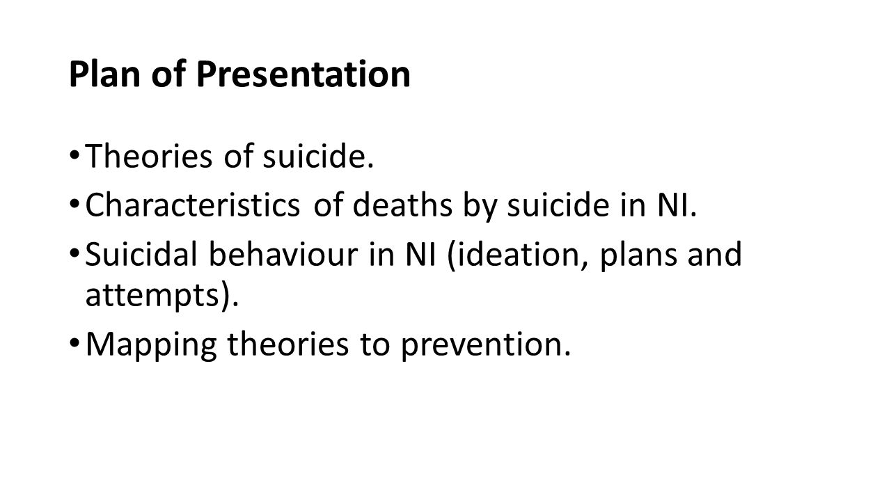 Plan of Presentation Theories of suicide.