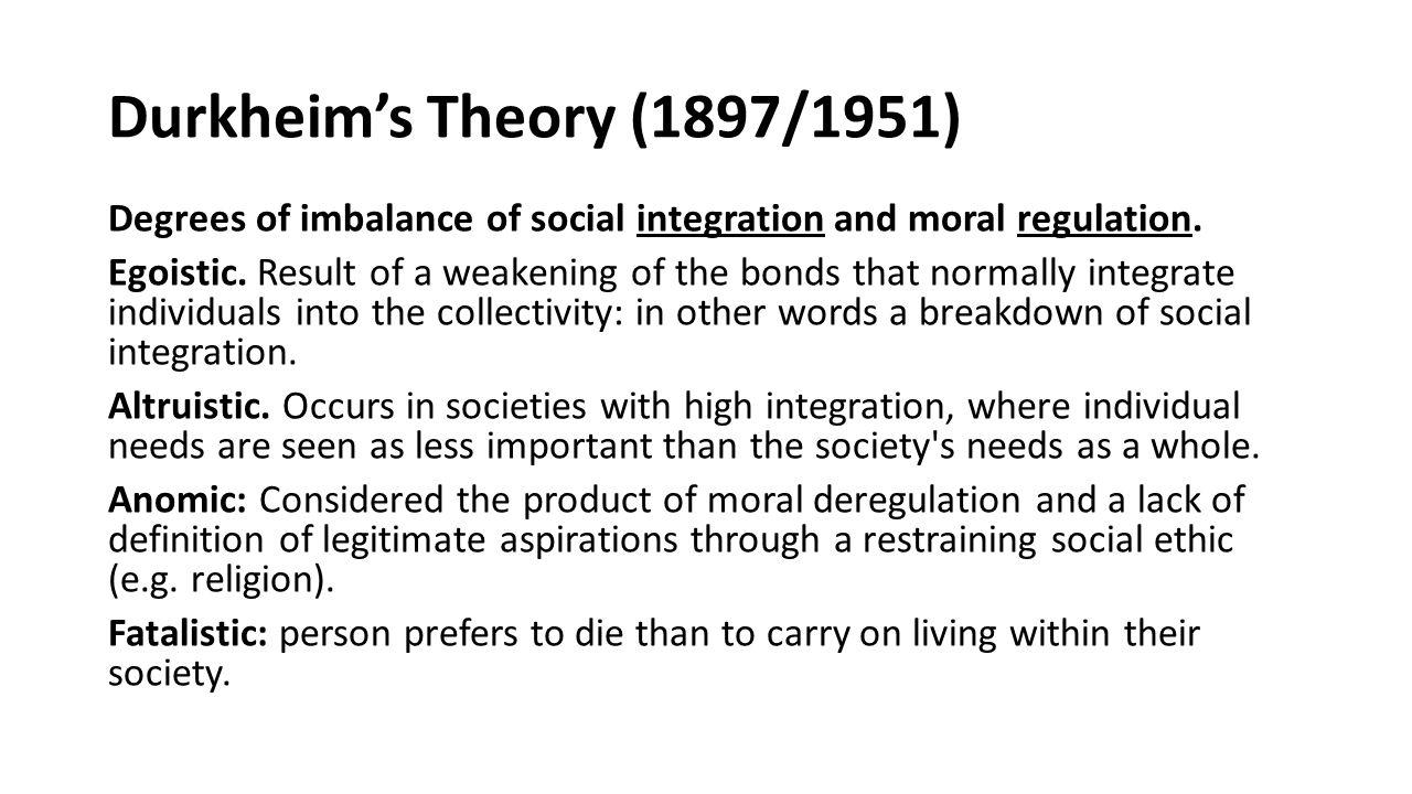 Durkheim's Theory (1897/1951)