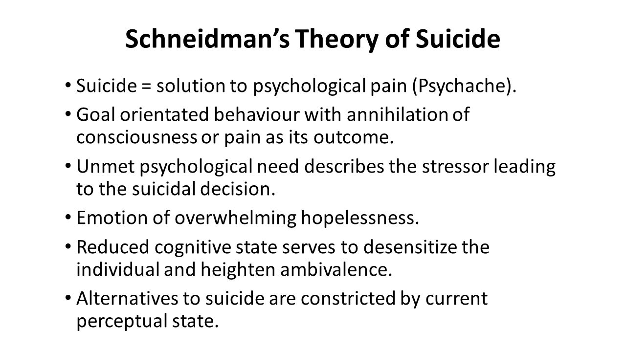 Schneidman's Theory of Suicide