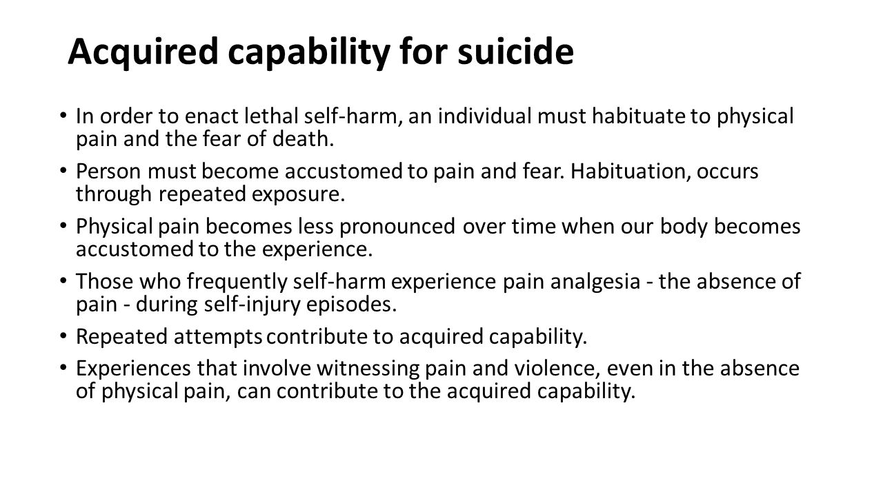 Acquired capability for suicide