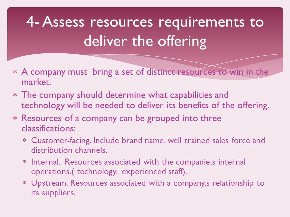 4- Assess resources requirements to deliver the offering