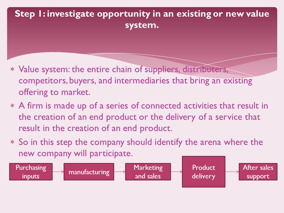 Step 1: investigate opportunity in an existing or new value system.