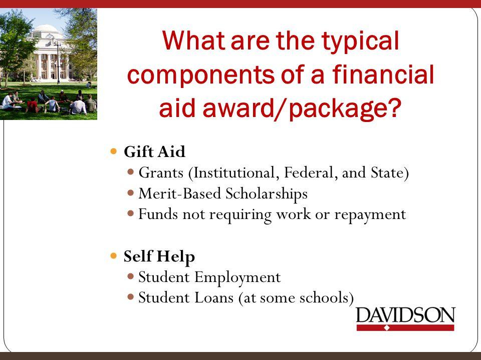 What are the typical components of a financial aid award/package