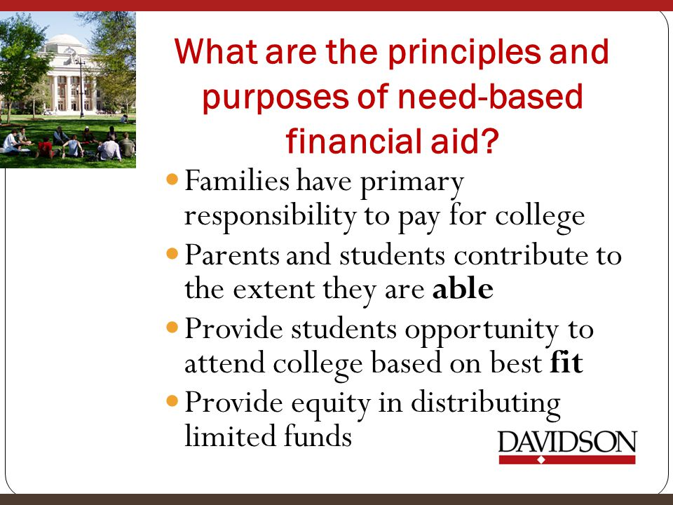 What are the principles and purposes of need-based financial aid