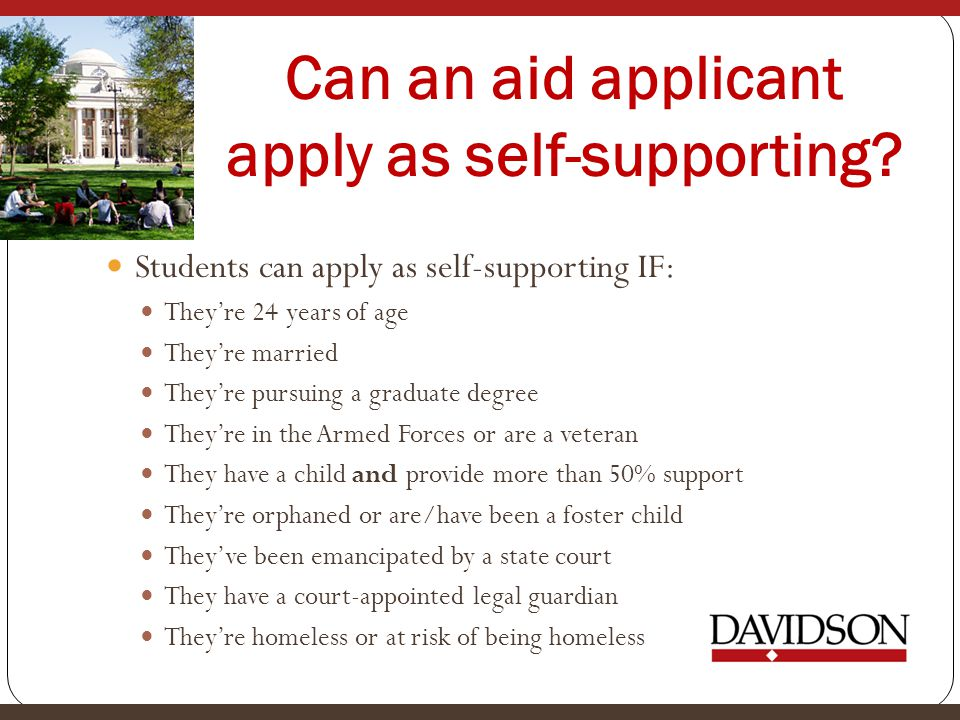 Can an aid applicant apply as self-supporting