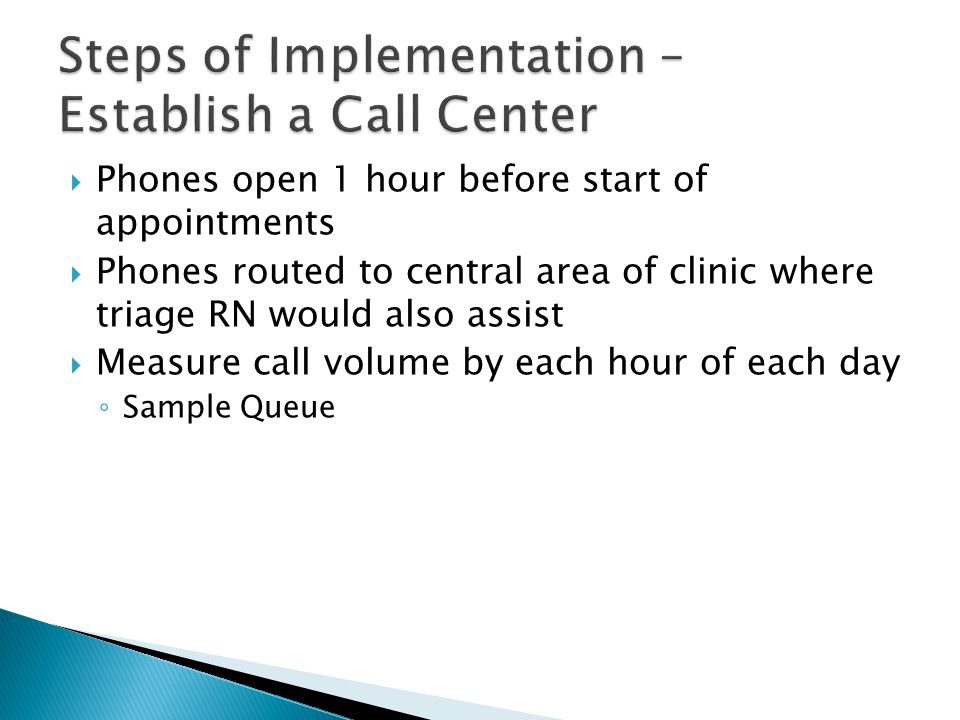 Steps of Implementation – Establish a Call Center