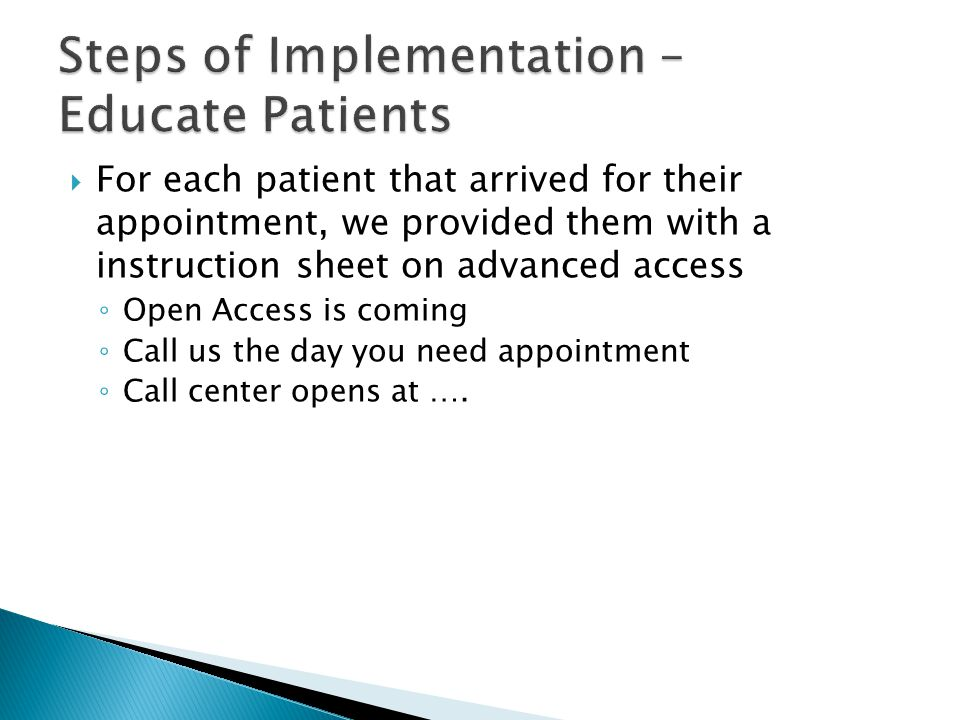 Steps of Implementation – Educate Patients