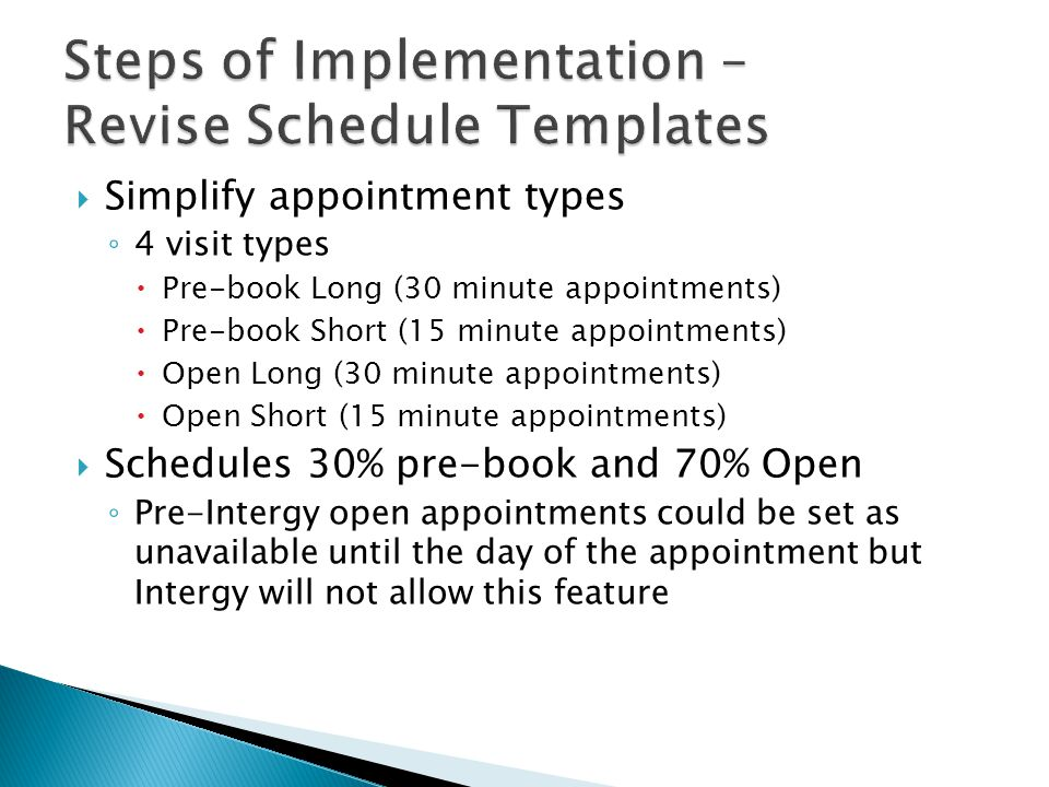 Steps of Implementation – Revise Schedule Templates