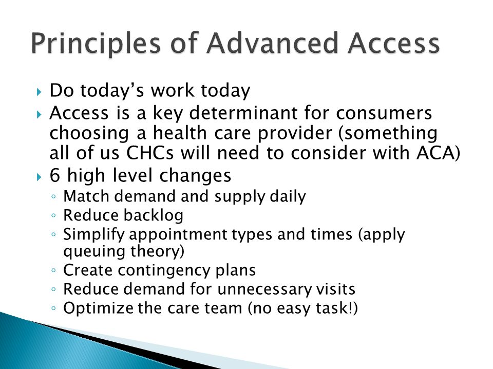 Principles of Advanced Access