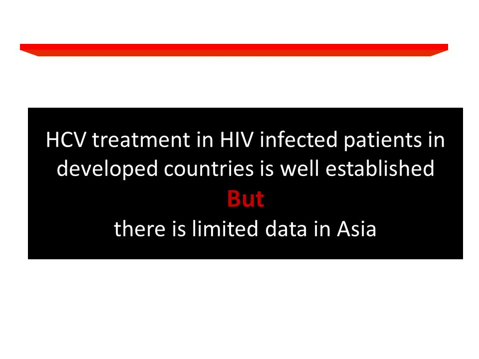 HCV treatment in HIV infected patients in developed countries is well established But there is limited data in Asia