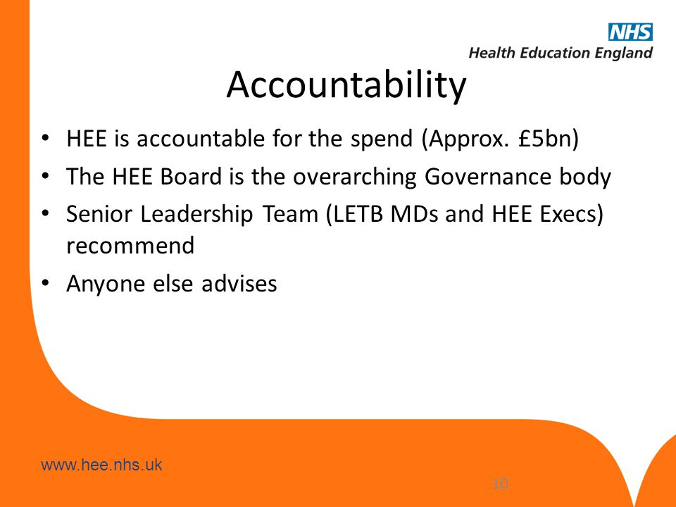 Accountability HEE is accountable for the spend (Approx. £5bn)