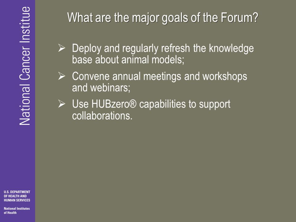 What are the major goals of the Forum