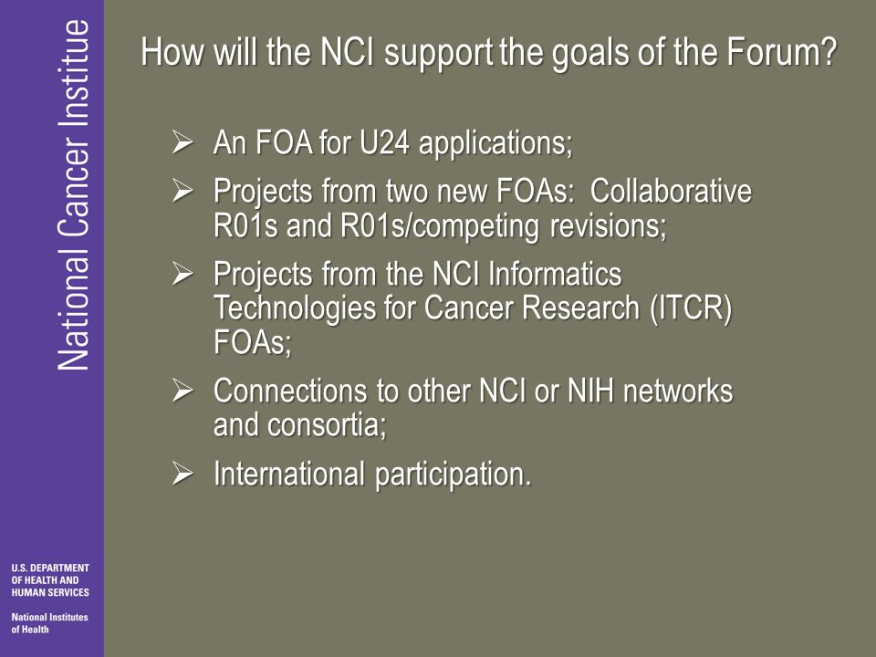 How will the NCI support the goals of the Forum