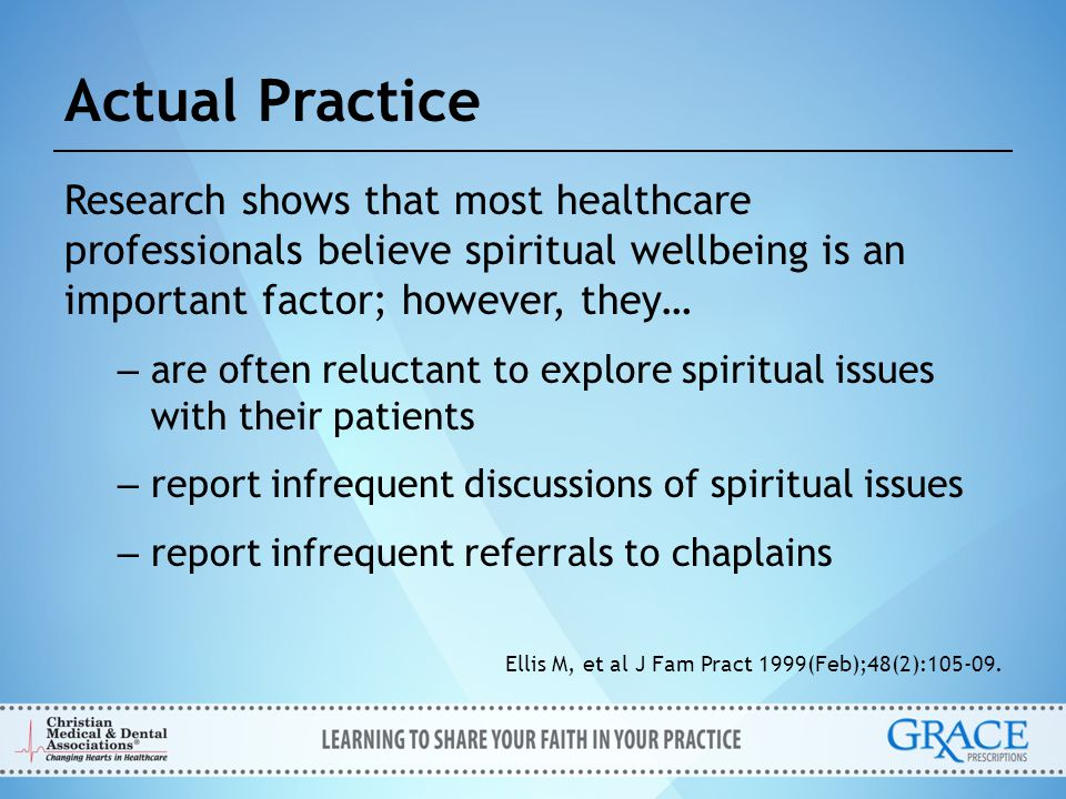 Actual Practice Research shows that most healthcare professionals believe spiritual wellbeing is an important factor; however, they…