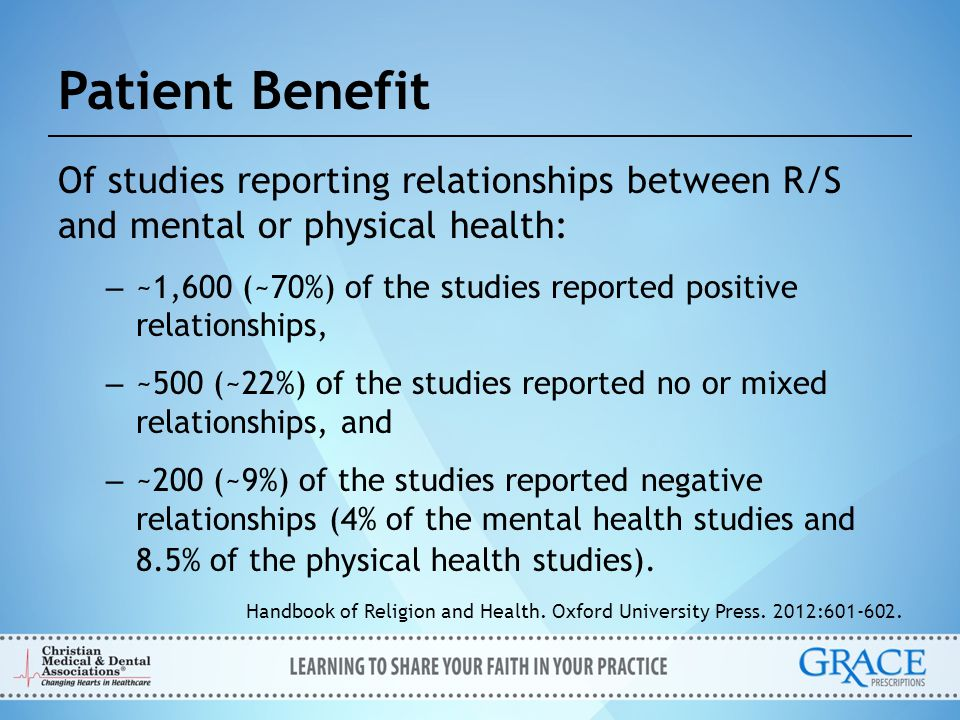 Patient Benefit Of studies reporting relationships between R/S and mental or physical health:
