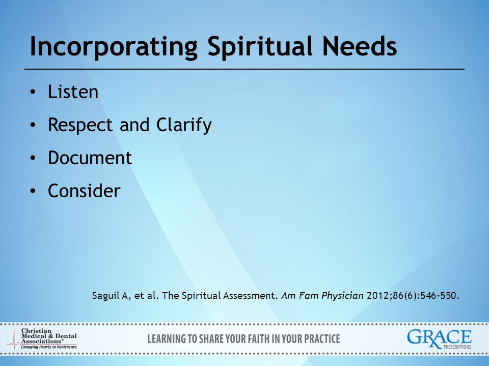 Incorporating Spiritual Needs