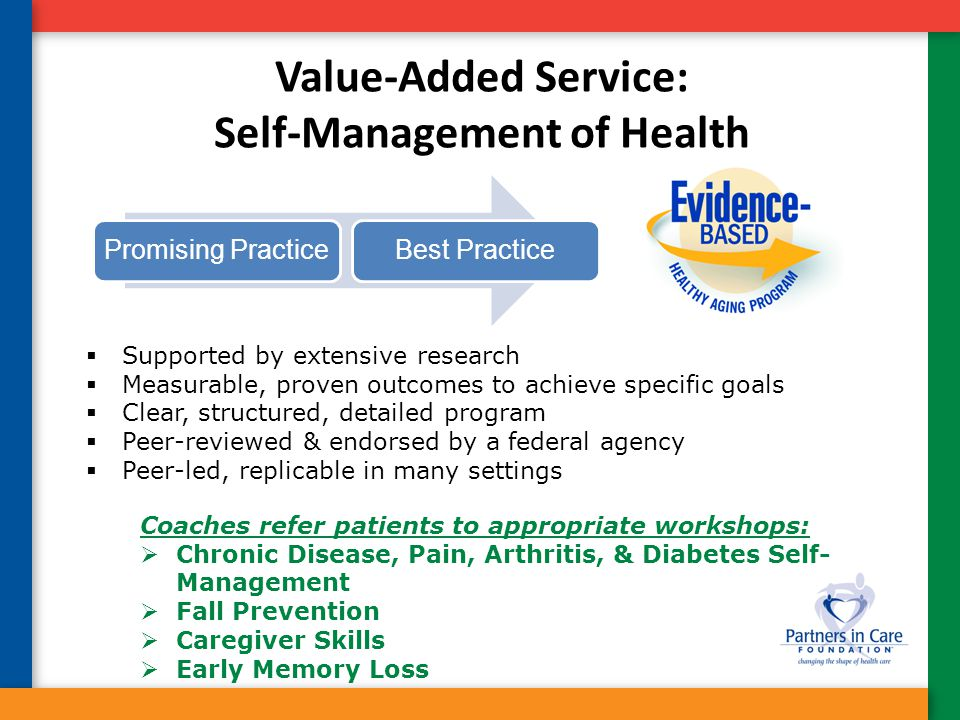 Value-Added Service: Self-Management of Health