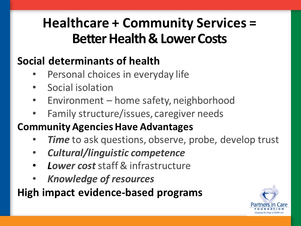 Healthcare + Community Services = Better Health & Lower Costs